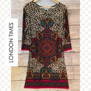 London Times BOHO Colorful Dress Sz 6